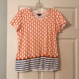 Talbots tee shirt with pineapples.